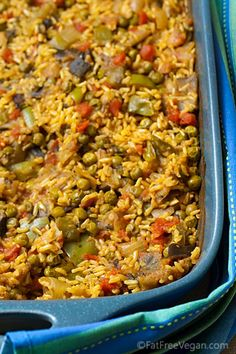 Cumin Rice w/ eggplant & peas. Ingredients: brown rice, eggplant, onion, bell pepper, diced tomatoes, cumin, turmeric, ginger, cinnamon, pepper, cayenne or red chilli pepper, parsley, green peas