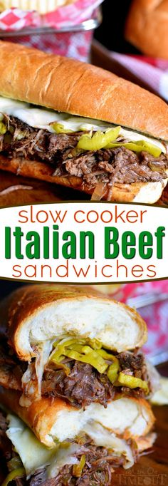 Load up on the delicious flavor of these Slow Cooker Italian Beef Sandwiches! A handful of ingredients are all you need to pull this amazing dinner off. Great for game day or an easy weeknight dinner! // Mom On Timeout #slowcooker #crockpot #dinner #beef #sandwiches #easydinner