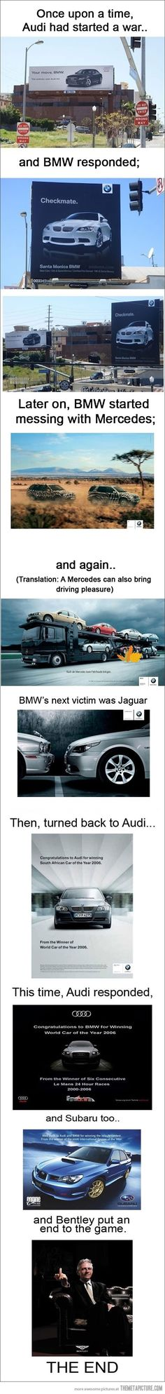 minus the finger, this is pretty funny  Audi Ad War