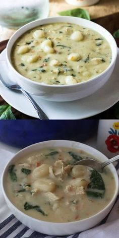 Olive Garden Chicken Gnocchi Soup Want a tasty copycat recipe that everyone will love? This Olive Garden Chicken Gnocchi Soup is easy, flavorful and completely addicting. Simple ingredients make this better than the original! Easy Soup Recipes, Chicken Recipes, Dinner Recipes, Cooking Recipes, Healthy Recipes, Healthy Soup, Vegetarian Soup, Healthy Chicken, Recipe Chicken