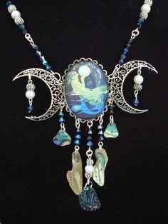 moon goddess necklace statement necklace mermaid by gildedingypsy