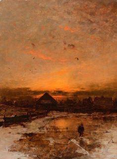 Ludvig Munthe (1841-1896) Sunset in Norway