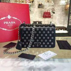 Limited Edition!Prada 2016 Runway Shoulder Bags Cheap Sale -Prada Black Calf Leather Shoulder Bag with Grommet Details and Chain 1BD009-CLBK