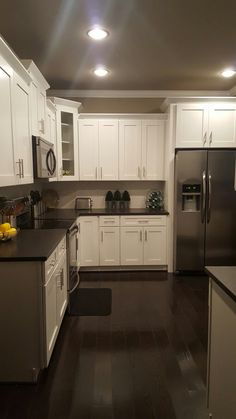 Kitchen Ideas Dark Wood Cabinets.Ge Slate Appliances Love The Look Of The Slate Appliances The