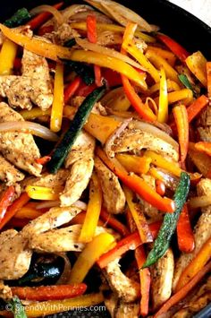 Chicken Fajitas are fresh, healthy and so easy to make! We use this filling to top salads, rice or to add to our favorite tortillas and pile high with toppings.