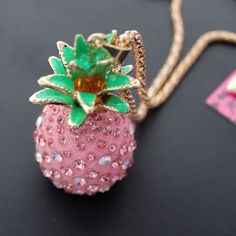 Rare Betsey Johnson $9.99  Pink crystal Pineapple   Necklace & Free Gift #BetseyJohnson #Chain
