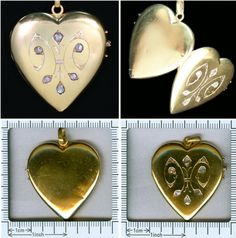 Antique heart shaped gold locket pendant by adinantiquejewellery