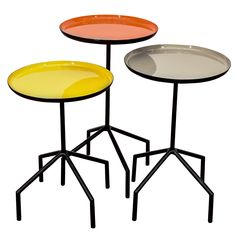 20th Century Iron Tri-Color Nesting Tables | From a unique collection of antique and modern nesting tables and stacking tables at http://www.1stdibs.com/furniture/tables/nesting-tables-stacking-tables/