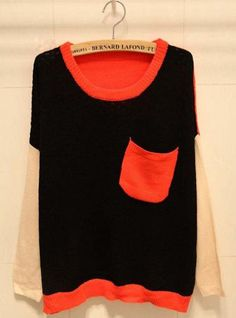Color Block Long Sleeve Black Sweater with Pocket$44.00