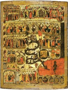Unknown Icon Painter, Russian (active c. 1660 in Yaroslavl)TitleThe Last JudgmentDatecirca tempera on woodDimensionsHeight: 182 cm in). Width: 145 cm in). The Last Judgment, Life In Paradise, Russian Icons, Byzantine Icons, Russian Orthodox, Orthodox Icons, 17th Century, Bohemian Rug, Medieval
