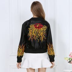 2016 moda outono inverno mulheres jaqueta de couro incrível Bordado do punk motocicleta jaqueta bomber streetwear casacos femininos OM469 em Couro & Camurça de Das mulheres Roupas & Acessórios no AliExpress.com   Alibaba Group