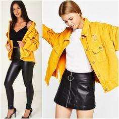 Oversized Denim Jacket Distressed Womens Yellow Retro 8 10 Ripped NEW Leather Skirt, Leather Jacket, Oversized Denim Jacket, Streetwear, Jackets For Women, Cotton Fabric, Plus Size, Retro, Yellow