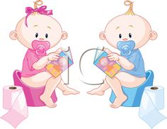 Little babies – girl and boy are sitting on potties with open books