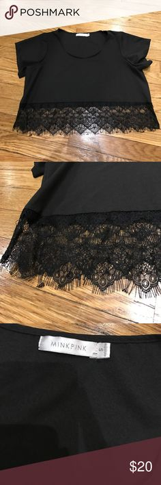 MinkPink crop top Black crop top, wider fit, with lace trim at bottom. Short sleeve, never worn MINKPINK Tops Crop Tops