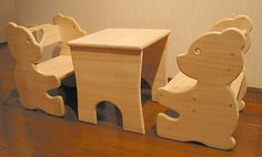 Woodworking Projects For Kids children's table set - I made this bear chair and table set for my daughters a few years ago and they really enjoyed it. I used thick lauan, a fairly light wood from the Philippine. Kids Woodworking Projects, Plywood Projects, Wood Projects For Kids, Teds Woodworking, Woodworking Furniture, Popular Woodworking, Canadian Woodworking, Sketchup Woodworking, Woodworking Square