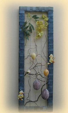 Paaskader part 2 Decor Crafts, Diy And Crafts, Arts And Crafts, Picture Frame Decor, Collaborative Art, Nature Decor, Easter Crafts, Creative Inspiration, Parasol