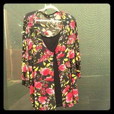 2-Piece Flowered Tunic w/Black Tank Beautiful Flowered Tunic Long Sleeves With Black Tank Top Sewn In.  10% Spandex Tops Tunics