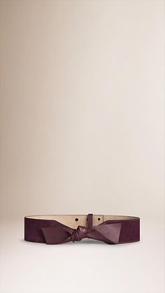 Burberry Mahogany red Bow-detail Suede Waist Belt