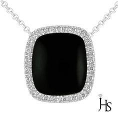 "14K White Gold 0.35 CT Round Diamond & Cushion Onyx Necklace/Pendant 18 ""…"