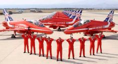 """Royal Air Force Areobatic Team """"The Red Arrows"""" on Springhawk 2104 at RAF Akrotiri, Cyprus. Raf Red Arrows, Airplane Crafts, Team Wallpaper, Airplane Fighter, Air Force Aircraft, Cool Gear, Blue Angels, Royal Air Force, Air Show"""