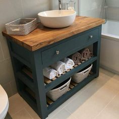 Bespoke Bathroom Vanity Unit, with a Solid Oak worktop. Made to Order & Handmade in Yorkshire. Wooden Bathroom, Blue Bathroom, Solid Oak, Diy Bathroom, Bathroom Vanity Units, Vanity, Bespoke Bathroom, Vanity Units, Slatted Shelves