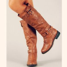 Yes, Santa! I'll take a pair of these....hee, hee... Buckle Knee High Riding Boots Brown Tan Tall Zipper Strap New Womens Fashion on Wanelo