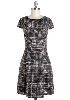 So Far, So Grid Dress - Black, White, Work, Casual, A-line, Woven, Good, Short Sleeves, Mid-length