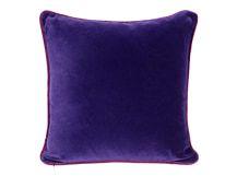 Mya Cotton Velvet Cushion 50cm x 50cm, Purple with Plum Piping