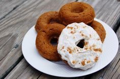 Baked Pumpkin Doughnuts with Cream Cheese Frosting.  Healthy recipe by the Slender Student