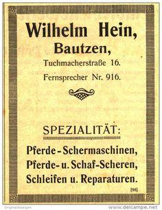 Original-Werbung/ Anzeige 1917 - SCHERMASCHINEN WILHELM HEIN BAUTZEN - ca. 70 x 100 mm