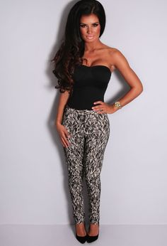 Eyelyn Nude and Black Lace Trousers