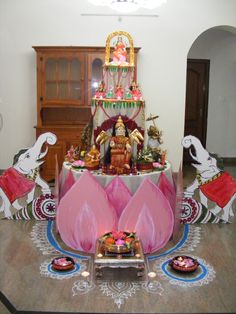New Art Deco Chair Diy Projects Ideas Diwali Decorations, Indian Wedding Decorations, Flower Decorations, Ganapati Decoration, Decoration For Ganpati, Tulasi Plant, Ganesh Chaturthi Decoration, Art Deco Chair, Puja Room