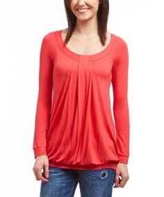Casa Lee Pink Coral Blouson Tunic by Casa Lee #zulily #zulilyfinds