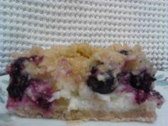 Rhubarb Blueberry Custard Bars.