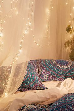 Firefly String Lights - Urban Outfitters, could replicate with tie die, fabric markers for pillow cases