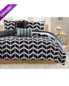 This Intelligent Design Nadia Comforter Set features a black and gray chevron print, with a solid gray reverse. Set includes one comforter, two shams (o. Black Comforter Sets, Queen Comforter Sets, Black Bedding, Black Duvet Cover, Duvet Cover Sets, Beautiful Bedding Sets, Bed Sets For Sale, Intelligent Design, Trendy Tree