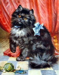 Vintage Black Fluffy Cat Kitten with yarn Quilting Fabric Block