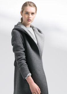 Abrigo lana capucha