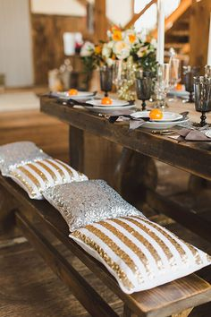 Use sparkly sequined cushions on reception seating | Brides.com