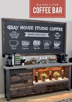 DIY Coffee Bar – Every detail of this DIY Project is fantastic! They wanted to bring a coffee shop atmosphere into their breakfast nook, so they built their own in-house coffee bar! Coffee Area, Coffee Nook, Coffee Bar Home, Home Coffee Stations, House Coffee, Office Coffee Station, Coffee Island, Coffee Center, Drip Coffee
