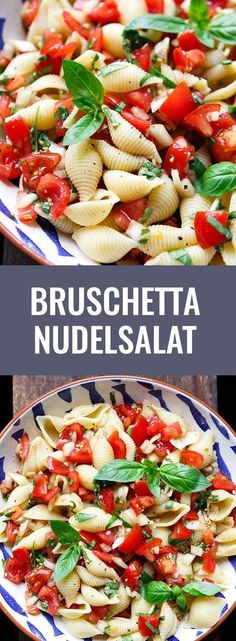 Bruschetta pasta salad - food and drink Pasta Recipes, Salad Recipes, Dinner Recipes, Recipe Pasta, Snacks Recipes, Drink Recipes, Vegetarian Recipes, Healthy Recipes, Free Recipes