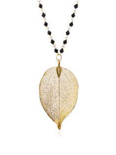 Saachi Black Onyx Gold Dipped Leaf Necklace at MYHABIT