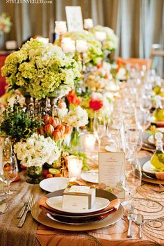 Style Unveiled - Style Unveiled | A Wedding Blog - Elegant Kiwi and Peach Wedding Tablescape Idea
