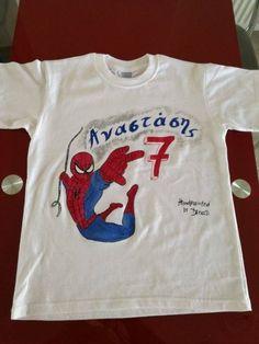 e-shop. - e-paidotopos. Spiderman, Handmade Shop, Hand Painted, Mens Tops, Fun, T Shirt, Accessories, Shopping, Fashion