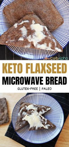 A simple 2 minute microwave low carb bread recipe Keto flaxseed bread. A simple 2 minute microwave low carb bread recipe Gluten Free Recipes, Bread Recipes, Keto Recipes, Flour Recipes, Healthy Recipes, Keto Vegan, Paleo, Flaxseed Bread, Flaxseed Gel