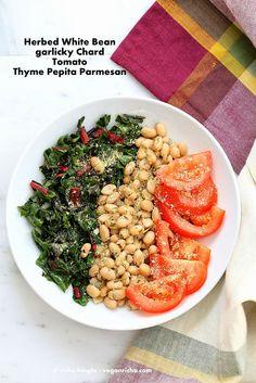 Herbed White Bean Rainbow Chard Thyme Pepita Parmesan Bowl. Vegan Recipe | Vegan Richa