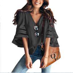 ff2276367f5 Women 3 4 Flare Mesh Sleeve Blouse. Plus Size CasualPink StreetSummer StreetV  Neck TopsLoose ShirtsChiffon ...