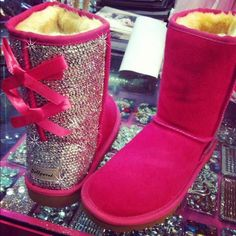 THEY'RE BEDAZZLED UGGS!! Omg!! WHAT GIRL WOULDN'T WANT BEDAZZLED UGGS????
