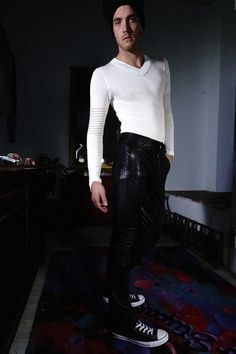 Black Leather Pants Black Embroidering