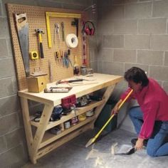 This simple wood work bench is perfect for a garage or utility room, and it takes up almost no floor space! : This simple wood work bench is perfect for a garage or utility room, and it takes up almost no floor space! Building A Workbench, Folding Workbench, Diy Workbench, Woodworking Bench, Woodworking Shop, Woodworking Projects, Workbench Designs, Workbench Organization, Woodworking Basics
